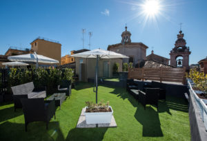 terrace of our luxury hostel in San Pietro - Rome